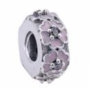 Клипса Розовая Примула серебро 925,эмаль