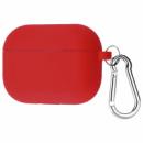 Силиконовый футляр с карабином для наушников AirPods Pro Розовый / Rose red