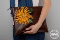 Кожаная женская сумка «Хризантема»