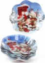 Набор 6 новогодних стеклянных тарелок «Мишки» Ø23см
