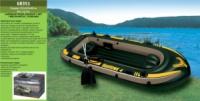 Лодка 68351 «Seahawk»(1шт)на 4 чел(до 400кг),рефл.дно,весла 69627,насос 68614,в кор. 295*137*43см