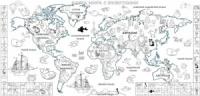 Обои-раскраски «Карта Мира с животными» 60х130см