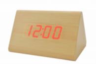 Часы VST 864 светлое дерево (красная подсветка)