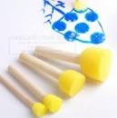4 шт./компл. Кисть деревянной ручкой печать губка щетка детская живопись инструмент граффити Дети DIY Doodle Рисунок Игр