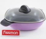 Кастрюля широкая (сотейник) Fissman DIABLO 4л со стеклянной крышкой