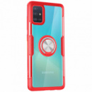 TPU+PC чехол Deen CrystalRing под магнитный держатель (opp) для Samsung Galaxy A71 Бесцветный / Красный