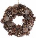 Декоративный венок «Шишки золотистые» Ø40см с натуральными шишками