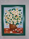Картина «Ромашки» в зеленой рамке