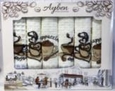 Набор 6 кухонных полотенец Ayben M4813 45х70см, вафельные