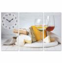 Часы настенные «Белое вино» на холсте 3х секционные