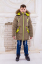Зимняя парка для мальчика «Аляска» (хаки-лайм)
