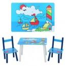 Столик деревянный, 2 стульчика, в кор-ке,60-40-23см