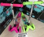 Детский самокат Maraton Маратон Mini Мини 2 вида Свинка Пеппа, Принцесса Барби колеса свет.