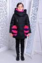 Зимняя куртка для девочки натуральный мех + вязанный хомут