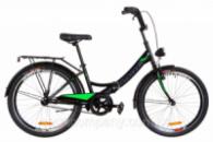 Велосипед 24« Formula SMART 14G тормозная St с багажником зад St, с крылом St, с фонарём 2019 (черно-салатный)