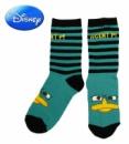 Носки детские бирюзовые в полоску с рисунком «Phineas and Ferb» (Финес и Ферб), бренд «Disney»