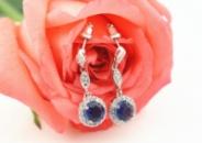 Женские серьги с синим цирконием