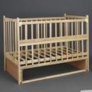 Кроватка «Наталка» деревянная, откидной бок, маятник. Ольха светлая