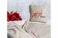 Набор подушка и плед с вышивкой I love you! Беж
