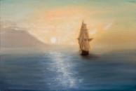 Картина маслом Рассвет над морем 60х40см