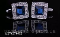 Запонки «Куб». С синим кристаллом и дорогой отделкой.