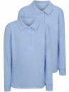 Футболка - поло школьная для девочки голубая с длинным рукавом