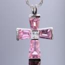 Женская подвеска крестиком в камнях сапфира