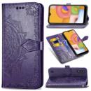 Кожаный чехол (книжка) Art Case с визитницей для Samsung Galaxy A01 Фиолетовый