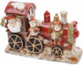 Декор новогодний «Санта в поезде» 31.5х12х20.5см фарфор с LED-подсветкой