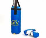 Боксерский набор детский (перчатки+мешок) ЛЕВ PVC (мешок h-40см, d-15см, синий)
