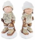 Декоративная керамическая фигурка «Дети на лыжах» 39см