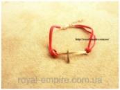 Браслет «Крест» красный на ремешке.