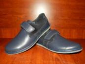 Подростковые кожаные туфли Levons на липучке синие