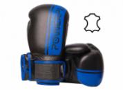 Боксерські рукавиці PowerPlay 3022 Чорно-Сині [натуральна шкіра] 10 унцій