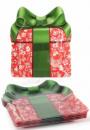 Набор 6 новогодних стеклянных тарелок «Подарок» 18х22см