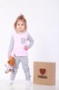 Комплект пижамка и мишка Lucky Friend 80 см Серо-розовый (LF004)
