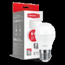 LED лампа MAXUS G45 6W мягкий свет 220V E27 (1-LED-541)