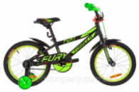 Велосипед 16« Formula FURY 14G St с крылом Pl 2019 (черно-зеленый с красным (м))