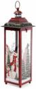 Новогодний фонарь-подсвечник «Снеговики» 12.7х12.7х38см, красный