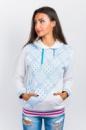 Батник женский с капюшоном и карманами AG-0004078 Бело-голубой