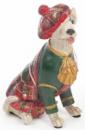 Декоративная фигурка «Собака шотландка в зеленом кафтане» 15см