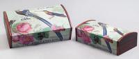 Набор из двух деревянных шкатулок «Дуардин Райская Птица», 30x18x10см и 26x14x8см