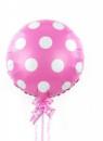 Фольгированный шар горох розовый полька 44 см