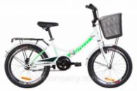 Велосипед 20« Formula SMART 14G St с багажником зад St, с крылом St, с корзиной St 2019 (бело-зеленый )