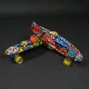 Скейт penny board (пенни борд). Абстракция, светящиеся колеса.