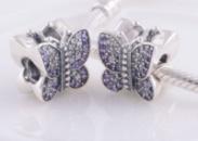 Бусина «Бабочка» с кристаллами Пандора Серебро S925 ALE проба
