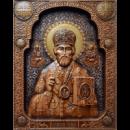 Резьба по дереву икона Святой Николай Чудотворецв подарочной упаковке