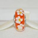 Пандора Муранское стекло бусинка оранжевая с белыми цветками и серебра 925