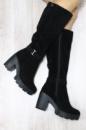 Зимние замшевые черные сапоги на каблуке