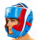 Шлем для бокса кожаный EVERLAST закрытый EV-5242-В  синий-белый